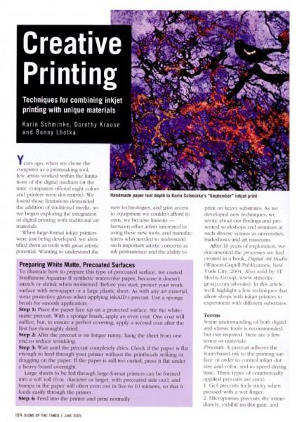 Creating Printing